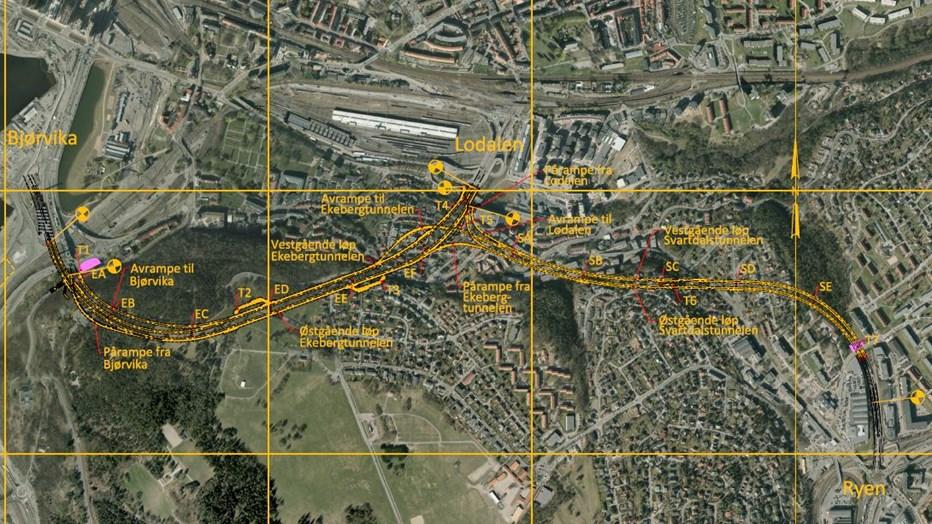 svartdalstunnelen kart E18 Ekeberg  og Svartdalstunnelen, tunnelrehabilitering |   svartdalstunnelen kart